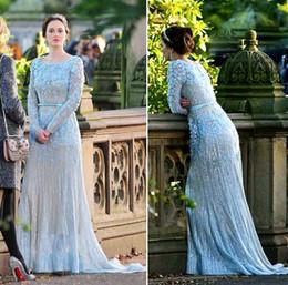 Wholesale Gossip Gowns - real photos long sleeves Arab Dubai blue wedding dresses 2016 gossip girl elie saab wedding gowns islamic dubai muslim bridal gowns