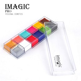Wholesale Clown Face Paint Wholesale - IMAGIC 12 Color Face Body Painting Pigment Halloween Cosplay Party Makeup Tool Set Flash Tattoo Body Paint Theater Clown Face Pigments 160g