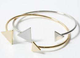 Wholesale Geometric Bracelets - Fashion Scratch Triangle Bracelet Bangles for Women Geometric Bridesmaid Gift Cuff Bangles for Girls Girlfriend Gold Silver Colors