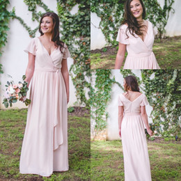 Wholesale Tie Neck Wedding Dress - Country Dusty Pink Bridesmaid Dresses 2018 Elegant Tie Waist Short Sleeve Maid Of Honor Dres For Weddings Cheap Long Wedding Guest Gowns