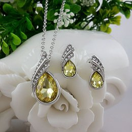 Wholesale Wholesale Fashion Stud Earring Set - 2017 New Sergi Fashion Crystal Water drop Stud Earrings Pendants Necklace jewelry sets Classic Wedding Dress for women(With chain)