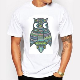 Wholesale Clothing Owl Designs - New 2016 Summer Fashion Men T-Shirts Printing Colorful Owl Pattern T Shirts For Men Animals Cartoon The Unique Design Clothing
