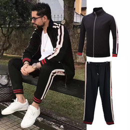 Wholesale Men Fashion Jogging Pants - 2017 Fashion Luxury Italian Brand Sports Tracksuits Men Designer Streetwear Jogging Pants Stripes Sportswear joggers for men stars M-3XL