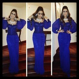 Wholesale Daffodil Bubble Dress - 2016 Stunning Scoop Bubble Long SLeeve Middle East Arabic Dresses Mermaid Navy Blue Satin Dubai Evening Dresses