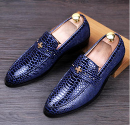 Wholesale Genuine Leather Shoes Mens Business - Snake Crocodile Shoes Mens Genuine Leather Loafers Pointed Toe Brand Designer Formal Men Business Dress Shoes Flats Doug Shoes