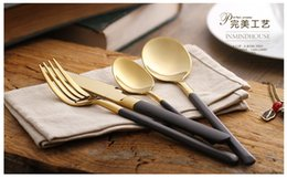 Wholesale Plated Flatware - Eco-friendly Japanese dinnerware cutlery set stainless steel gold plated flatware quality tableware household wholesale