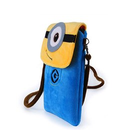 Wholesale Minion Bags - Women Cute Cartoon Plush Mini Minions Coin Purse Wallet Mobile Phone Bag Ladies Teenage Girl Clutch small shoulder Messenger Bag