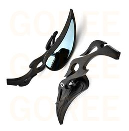 Wholesale Motorcycle Rear View - 1 PAIR Black Motorcycle Flame Handlebar Teardrop Side Rear View Mirrors Universal bicycle mirrors
