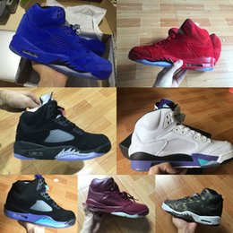 Wholesale Field Brown - 2017 Traderjoes With Box Mens Air Retro 5 Metallic Field White Cement Black Metallic Black Grape Womens Basketball Shoes Sneakers