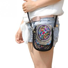 Wholesale Embroidered Flower Bag - Boho Ethnic Embroidery Bag Vintage Embroidered Canvas Cover Shoulder Messenger Bags Women Small Coins Travel Beach Phone Purse