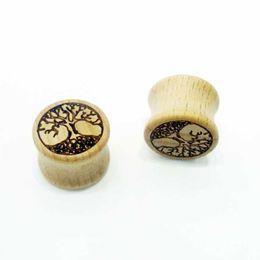 Wholesale Tree Life Ear Plugs - Wholesale Tree Of Life Logo Wooden Ear Stretchers Plug Tuunel,Ear Gauges 6-16mm Flesh Tunnel Body Jewelry Piercing BJ7313