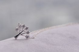 Wholesale Crystal Lucky Tree - Korean Stylish S925 Silver Lucky tree zircon Charms clavicle necklace chy037