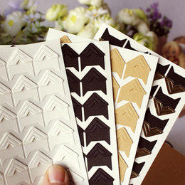 Wholesale Paper Sticker Album - DIY corner stickers Vintage Corner kraft Paper Stickers for Photo Albums Frame Decoration Scrapbooking Photo wall decoration