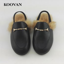Wholesale Children Shoes Slippers - Koovan Children Fur Shoes 2017 Spring Hot Selling Girls Slippers Rabbit Hair Parent-child Plush Shoes Leather Warm Sandals