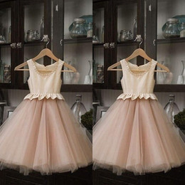 Wholesale Satin Peplum Wedding Dress - Real Image 2016 Baby Pink Satin And Tulle Flower Girls Dresses For Weddings Cheap Jewel Peplum Ankle Length Birthday Party Gowns EN9289