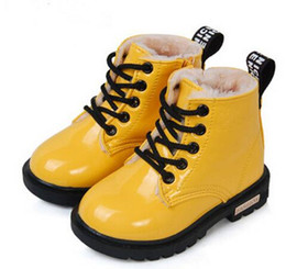Wholesale Child Blue Snow Boots - Hot2016 New Winter Children Shoes PU Leather Waterproof Martin Boots Kids Snow Boots Brand Girls Boys Rubber Boots Fashion Sneakers