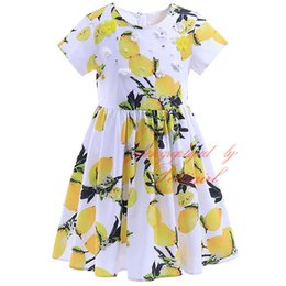 Wholesale Baby Best Sellers - Best Seller Pettigirl Lemon Flowers Print Girls Dress Short Sleeves And O Neck A-Line Baby Chilren Wear With Floral Decoration GD90425-761F