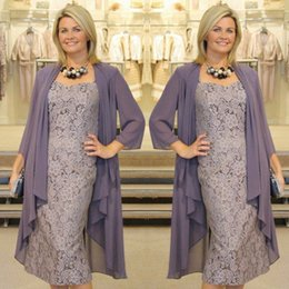 Wholesale Designer Mother Dress Jackets - Graceful Tea Length Mother Of the Bride Dresses with Jacket Lace Groom Mother Dress Designer Evening Gowns Cheap SM004