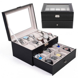 Wholesale Antique Glass Jewelry - 20 Slot Watch Box Leather Display Case Organizer Top Glass Jewelry Storage Black