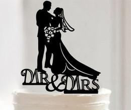 Wholesale Wedding Topper Silhouette - 2016 Wedding Decorations Cake Inserted Card Bride Groom Silhouette Cake Topper Bride Groom Doll Cake Decorations Rustic Wedding Cake