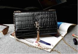Wholesale Europe Style Bags - Europe 2017 Luxury brand women bag luxury designer handbags crocodile grain women handbag Chain tassel shoulder handbags