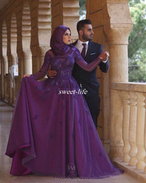 Wholesale Tulle Hijab - Long Sleeve Purple Women Muslim Hijab Evening Dresses Plus Size A-Line Floor Length Vintage Lace 2017 Mother of the Bride Dresses Prom Gowns