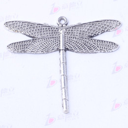 Wholesale Dragonfly Bronze Charm - Dragonfly Pendant DIY Jewelry fit Bracelets or Necklace Antique Silver bronze 42.1*46.8mm charms 50pcs lot 3014z