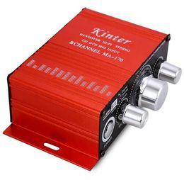 Wholesale Kinter 12v - Kinter MA-170 Mini 12V 100W Hi-Fi Stereo Amplifier Booster DVD MP3 Red Speaker for Car Motorcycle Sound Mode Audio Support