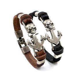 Wholesale Wholesale Stainless Steel Anchor Bracelet - 2016 New Fashion Navy Anchors Skull Leather Bracelets Bangles Punk Style Jewelry Handmade Black Brown Leather Charm Bracelets For Men women