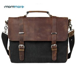 Wholesale Leather Military Satchel - Wholesale-2016 Canvas Vintage Men Leather Briefcase Handbag Fashion Satchel School Military Messenger Bag Casual 14'' Computer
