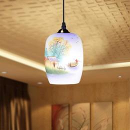 Wholesale Lotus Pendant Lamp - Antique Design Porcelain Lamps LED Lotus Vintage 90-260V E27 Eggshell Ceramic Kitchen Restaurant Hotel Pendant Lights