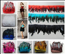 Wholesale Free Fringe - Free Shipping 5 yards lot 12-15 cm  5-6 inches Coque Rooster Tail Feather Trimming Fringe. 10 color You choose