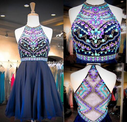 Wholesale Colorful Sweet 16 Dresses - 2017 Navy Chiffon Sweet 16 Dresses Real Images Halter Neck Colorful Beaded Sequins Crystals Cheap Homecoming Gowns with Illusion Back