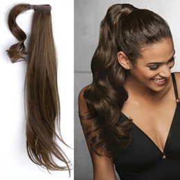 Wholesale Natural Hair Tail - Remy hair horse ponytail human hair clip in body wave brown human hair pony tail extension #4 pony tail Hairpiece
