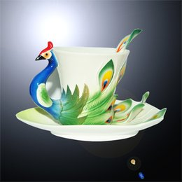 Wholesale Peacock Tea Cup Set - Art Porcelain Ceramic Tea Cup Coffee Mug Peacock Set with Saucer Spoon+ Gift Box