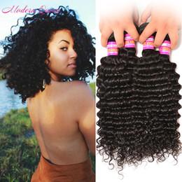 Wholesale Best Human Bulk Hair - Mink Malaysian Deep Wave Hair Weaves Best Sell Machine Double Weft Malaysian Human Hair Unprocessed 4 Bundles Deep Curly Wave Hair Bulk