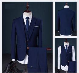 Wholesale Plain Pants - Waistcoat Pant Coat Design Men Wedding Suits Pictures 2017 Plain Solid Man Suit 6 Colors Available L-908