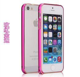 Wholesale Iphone5 Aluminium Cover - Aluminium Metal Bumper for IPhone5 5s Bumper Frame Cover Anti Knock Case Ultra Thin Slim 4 Colors 0.7mm 10pcs\lot