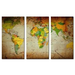 Wholesale Oil Paint Map - 3 piece Brown Wall Art Painting World Map Prints On Canvas The Picture Map Pictures Oil For Home Modern Decoration Print Decor