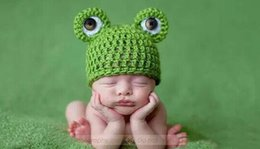 Wholesale Newborn Knit Frog Hat - newborn baby infants photography frog cap hat cotton hand-knitted hats photography props for babies