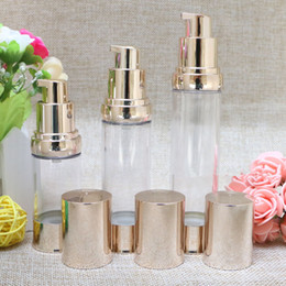 Wholesale Pump For Lotion - 20ml 30ml 40ml Gold Airless Bottle Vacuum Pump Lotion Cosmetic Container Used For Travel Refillable Bottles F20172220