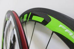 Wholesale Tubular Race Wheels - carbon wheels 3K Green FFWD F5R 50mm clincher Tubular bicycle wheels 700c carbon fiber road bike racing wheelset