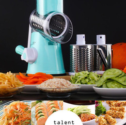 Wholesale Vegetable Julienne Shredder - Round Mandoline Slicer Manual Vegetable Mandoline Cutter Slicer Julienne Grater Cheese Slicers Stainless Steel Kitchen Fruit Tool KKA2636