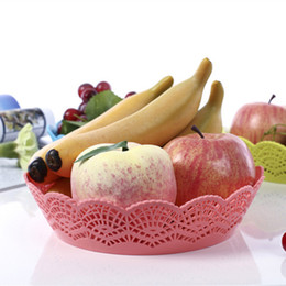 Wholesale Dry Snacks - Fashion Creative Fruit Plate Lace Large Coffee Table Candy Dish Snack Tray Plastic Dry Household Fruit Bowl