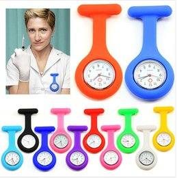 Wholesale Round Glass Cover - Fashion Promotion Christmas Gifts Colorful Nurse Brooch Fob Tunic Pocket Watch Silicone Cover Nurse Watches free DHL