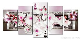 Wholesale Art Paintings Flowers - YIJIAHE 5 Piece Abstract Flowers Painting Print on Canvas Stretched and Framed Wall Pictures for Living Room Large Wall Art H264