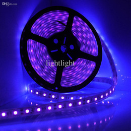 Wholesale waterproof boat led lights - Wholesale-5M 16Ft LED Waterproof Ultraviolet Purple Black Light Strip 5050 DC 12V Night Fishing Boat UV Blacklight Flexible Lamp