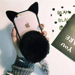 "Wholesale Cute Cat Ear Iphone Case - Factory Price!!! 3D Cartoon Cute Fur Ball koko cute Ear Cat Tail Silicon Soft Back Case Cover for iphone 6 6S iphone plus 5.5"" phone case"
