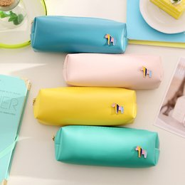 Wholesale Horse Stationery - Wholesale-Hot Sales Fresh Style Candy Color Horse Pu Leather Pencil Case Stationery Storage Bag Escalar Papelaria Escolar School Supplies