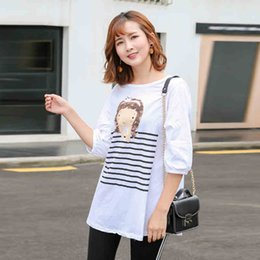 Wholesale Maternity White Blouses - Wholesale- Pregnant T shirt Clothes Maternity Wear Funny Maternity Shirts Three Quarter Sleeve Summer Maternity Clothing Cheap Blouse